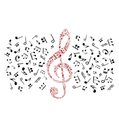 Music notes icons Red treble clef vector image