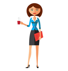 office woman with cup flat cartoon vector image
