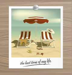 Old photo summer recliners and beach umbrella vector