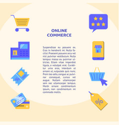 Online commerce banner in flat style with place vector
