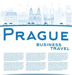 Outline Prague skyline vector
