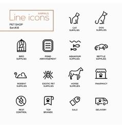 Pet shop - single line pictograms set vector