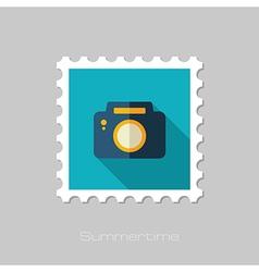 Photo Camera flat stamp Summer Vacation vector