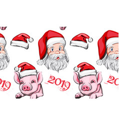 pig year pattern background santa claus vector image
