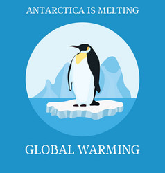 Poster climate protection penguin on iceberg vector