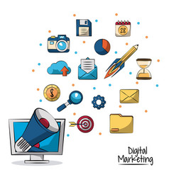 poster of digital marketing with megaphone coming vector image