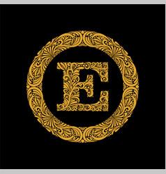 premium elegant capital letter e in a round frame vector image