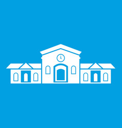 Railway station building icon white vector