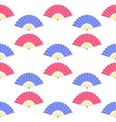 Red Blue Fan Seamless Pattern vector image
