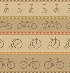 Retro bicycle pattern hipster background vector image