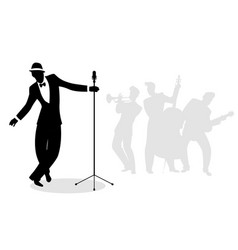 retro singer crooner silhouette with musicians in vector image