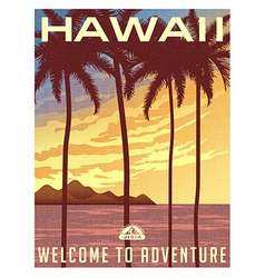 Retro style travel poster of Hawaii vector
