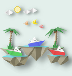 Scene with birds steamship palm and 3d fly island vector