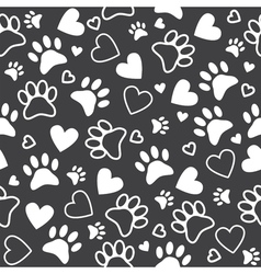 Seamless pattern with paw and heart prints Cute vector image