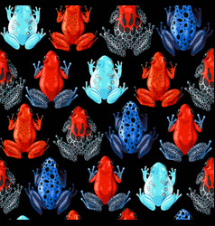 seamless pattern with vivid tropical frogs vector image