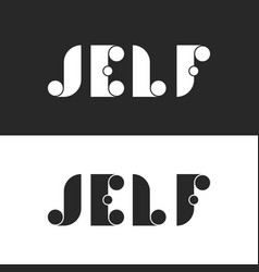 set bold letters with circle j e l f logo mockup vector image