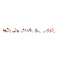 set children with parents on bicycles vector image