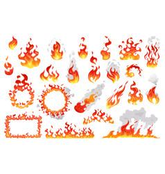 Set fire flames fireballs and burning bonfire vector