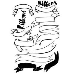 set hand-drawn ribbons vector image