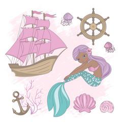 ship mermaid sea ocean summer cruise vector image