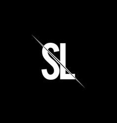 sl logo monogram with slash style design template vector image
