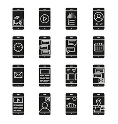 Smart phone functions and apps icon set vector
