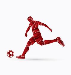 soccer player shooting a ball action vector image