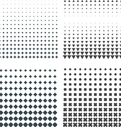 Solid dark geometric halftones set vector