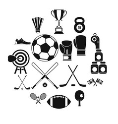 sport equipment icons set simple style vector image