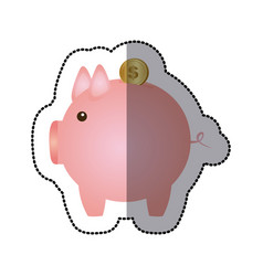 Sticker color silhouette with money box in shape vector