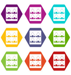 Sushi icon set color hexahedron vector
