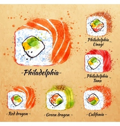 Sushi watercolor rolls in kraft vector