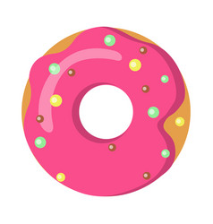 Sweets picture doughnut with pink sprinkles vector