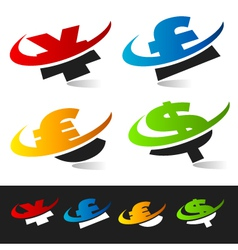 Swoosh Currency Logo Symbols vector