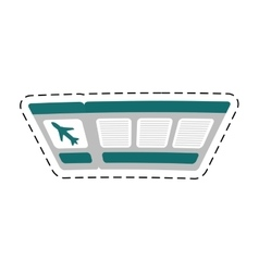 Ticket airplane travel cut line vector