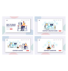tiny characters creating content copywriting vector image