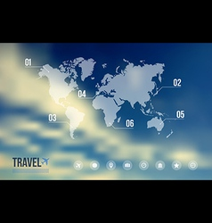 Travel infographic over sky blue blurred vector
