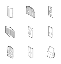 Types of doors icons set outline style vector