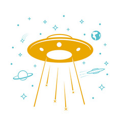 Ufo icon in starry sky vector