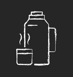 Vacuum flask chalk white icon on black background vector
