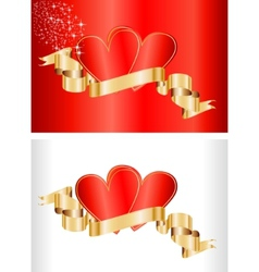 valentine concept - cards with ribbon vector image