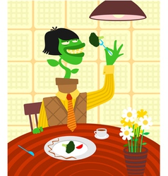 Vegetarian caricature vector