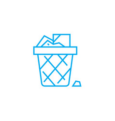 wastepaper basket linear icon concept wastepaper vector image