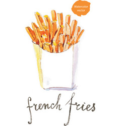 Watercolor french fries vector