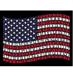waving united states flag stylization of drop vector image
