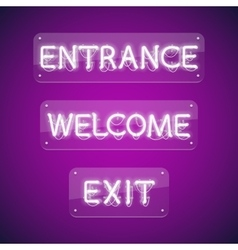 White Glowing Neon Entrance Signs vector image