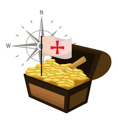 Wooden chest with gold coins and flag cross vector