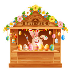 Wooden trade stall for easter fair vector