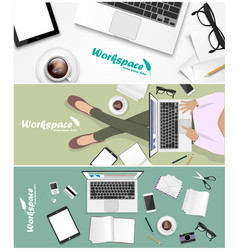 Workspace banner for facebook poster design vector