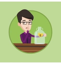 Worried businessman looking at empty money box vector
